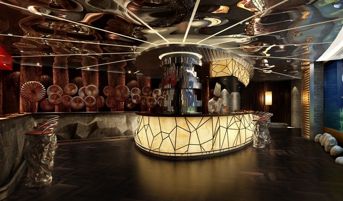 D model restaurant with high end wall decor cgtrader