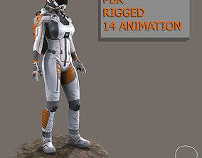 3D asset Female Space Suit