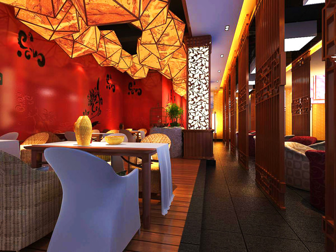 Classy restaurant with floral walls d model cgtrader