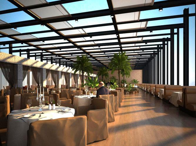 Restaurant with classy skylight decor d cgtrader