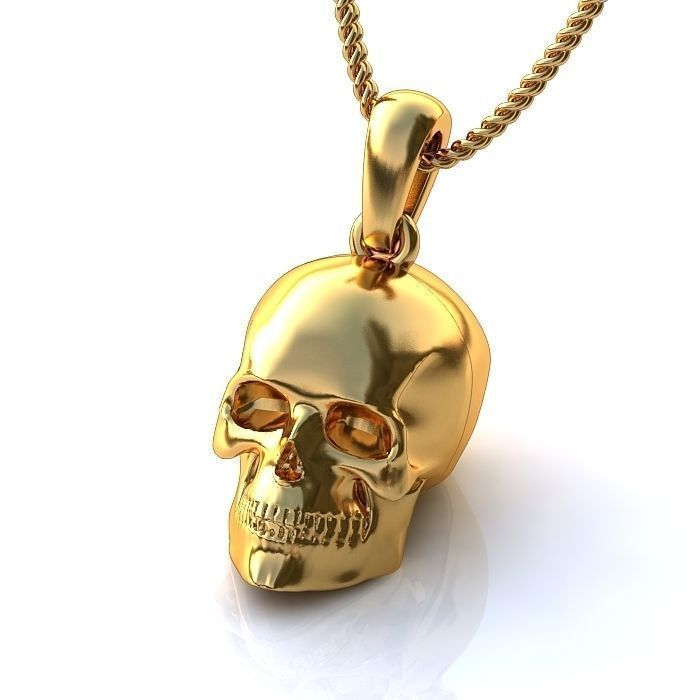 Gold Skull Pendant BP047