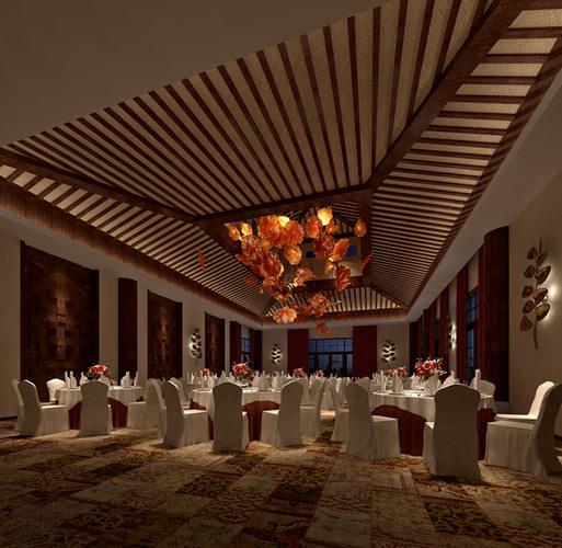 posh restaurant with carpet and decor 3d model