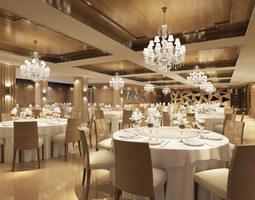 3d model classy restaurant with posh chandeliers