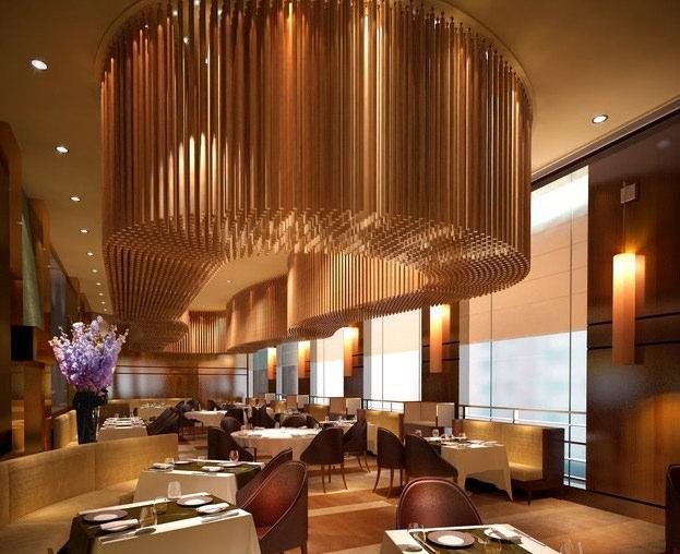 3D Modern Restaurant with Posh Chandelier | CGTrader
