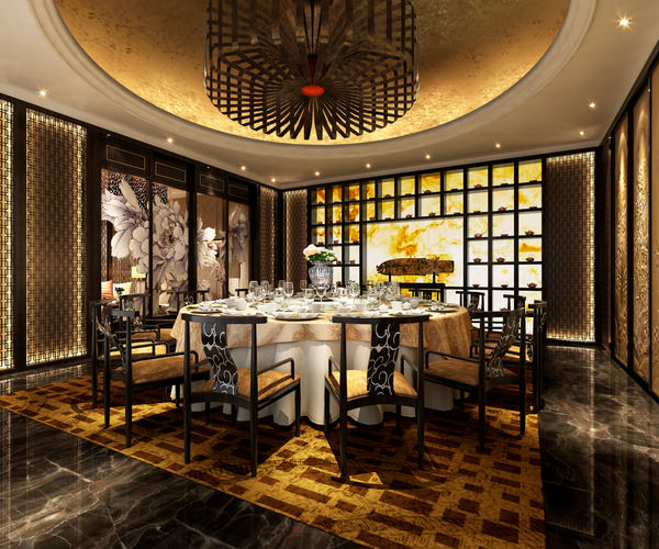 high-end dining space with posh chandelier 3d model max 1
