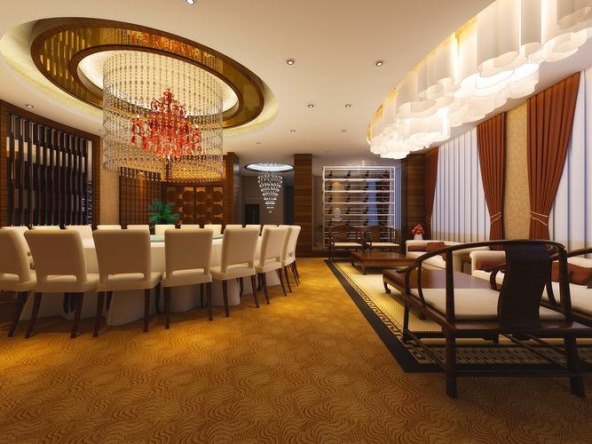 elite restaurant with posh chandelier 3d model max 1