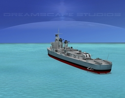 3d rigged sumner class destroyer  dd733 uss shannon