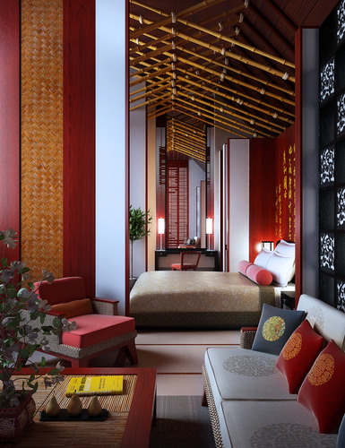 living room with oriental cushions and sofas 3d model max 1