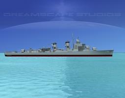 rigged sumner class destroyer  dd735 uss robert smith 3d model