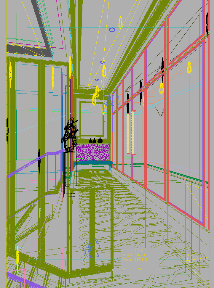 Corridor with partition decor and wall decor 3d model max - Corridor decoratie ...