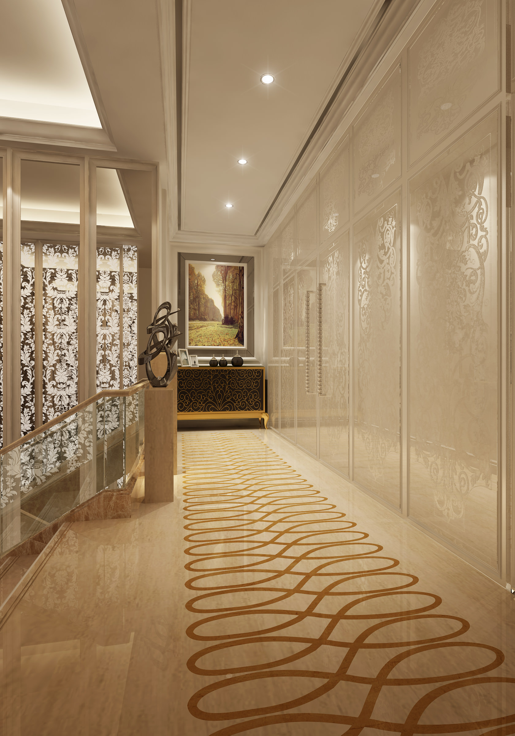 Corridor with partition decor and wall decor 3d model max - Corridor deco ...