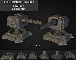 td cannon tower 01 game-ready 3d model