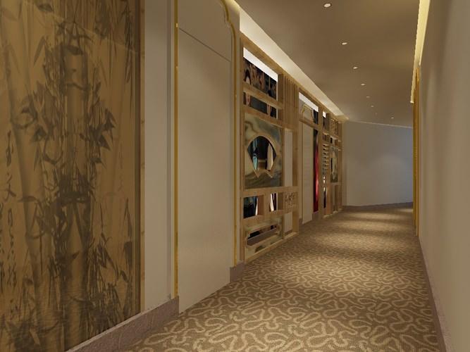 & Carpet Corridor with Bamboo Printed Wall Art 3D model MAX