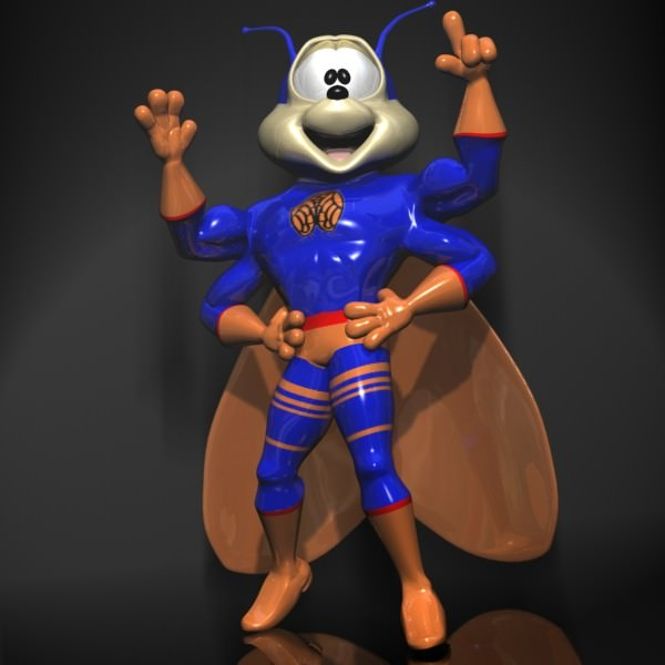 Supercigale Cartoon Character Rigged