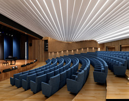 Auditorium Room with Piano 3D model