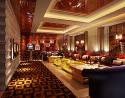 club with luxurious interior 3d model