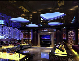 Exquisite Lounge with Stylish Decor 3D