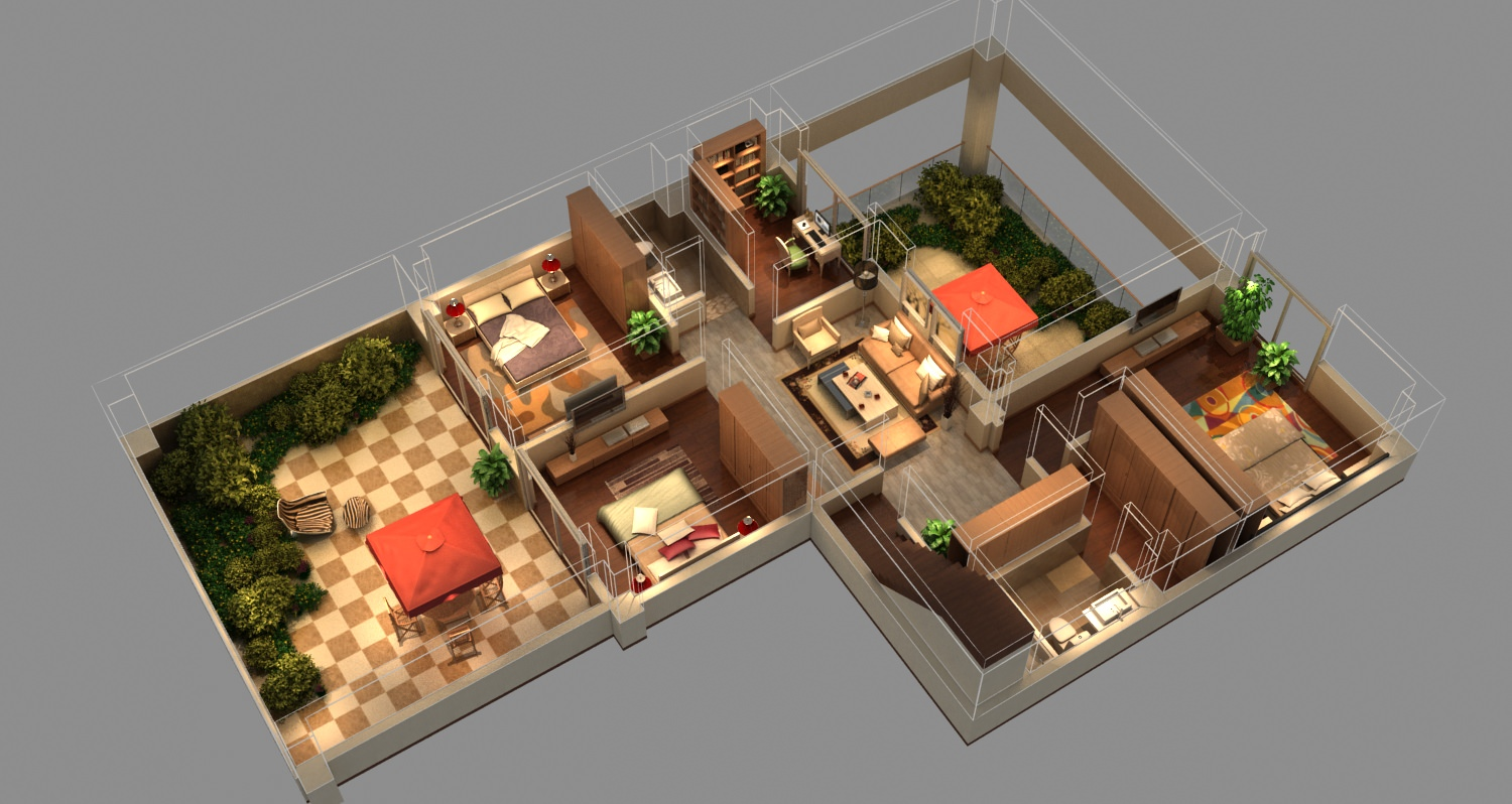 Isometric house 3d model max for Living with models