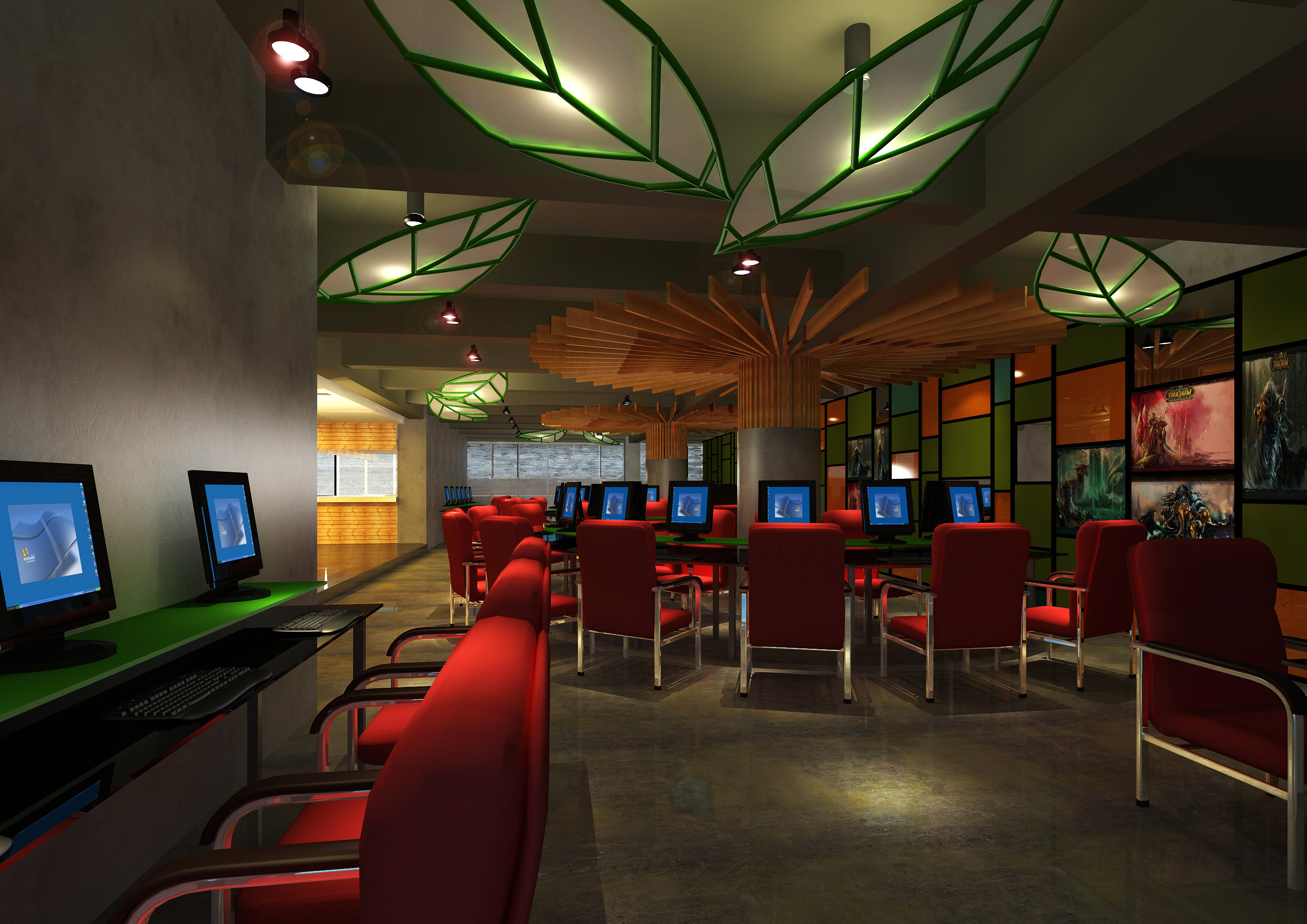 Cyber Cafe with Decor Interior 3D model CGTrader