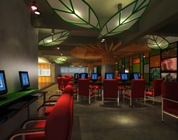 3d cyber cafe with decor interior