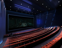 theater with brown seats and blue interior 3d model
