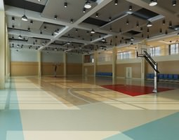 3d model basketball court with multiple ceiling lights