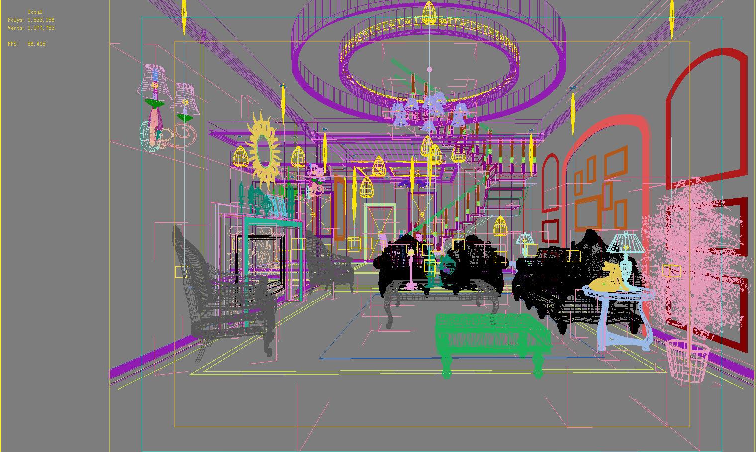 Living Room With Exclusive Designer Interior 3d Model Max