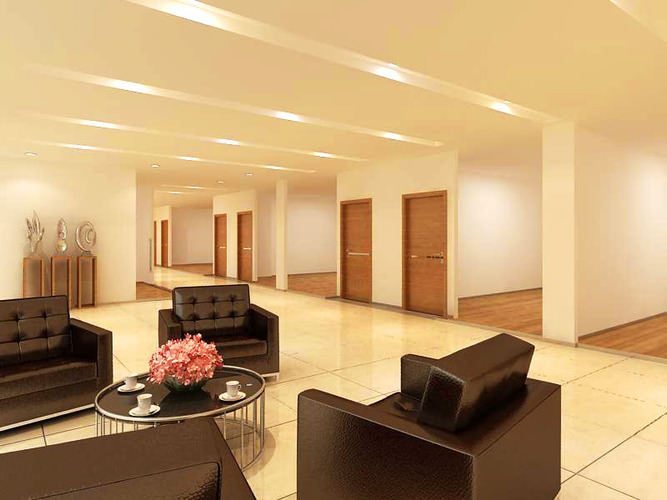 corridor cum lobby with leather sofas 3d model max 1