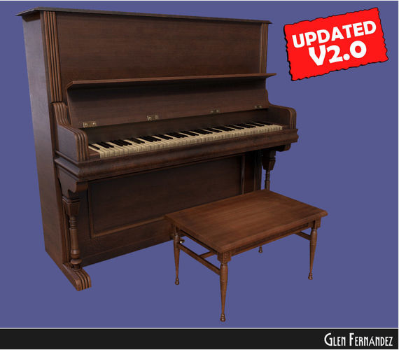 old victorian wooden upright piano low poly -updated 3d model low-poly obj mtl fbx ma mb unitypackage prefab 1