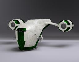 rigged 3d space gunship