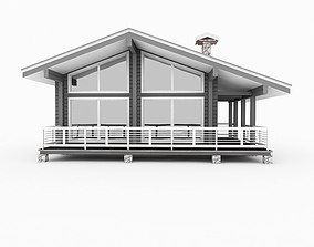 3D European Wood Log House