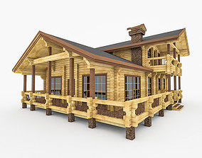 Wood Log House With Terrace 3D