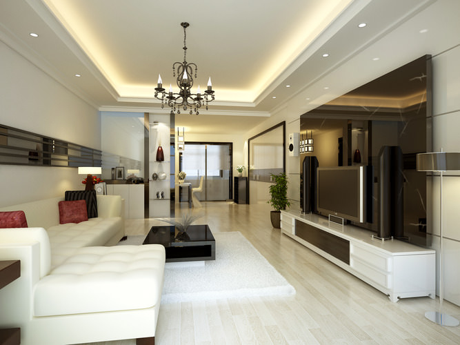 Living Room With High-end Wall Decor And TV 3D Model MAX