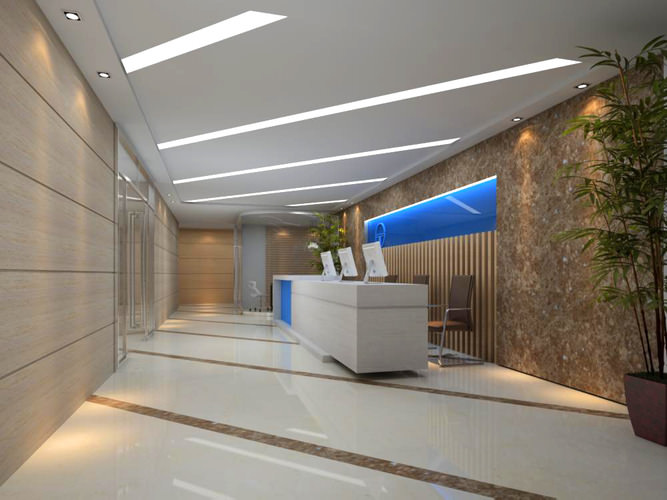 3d office reception area with blue decor cgtrader