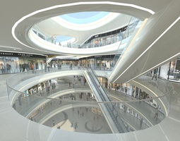 Exquisite Shopping Mall Interior public 3D model