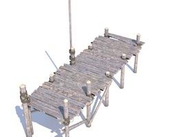 3D model Old wooden bridge