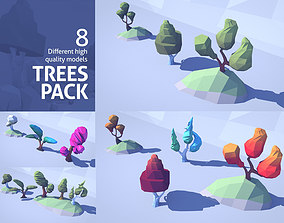 Cartoon Low Poly Trees Pack 3D asset