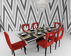 Modern Dining Table Set 3D