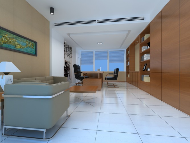 posh office furniture. posh office space with white lamp 3d model furniture