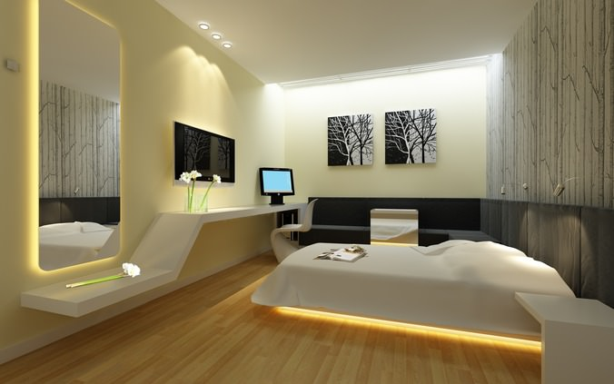 3d guest room with mirror and lcd tv cgtrader for Interior design bedroom 3d max