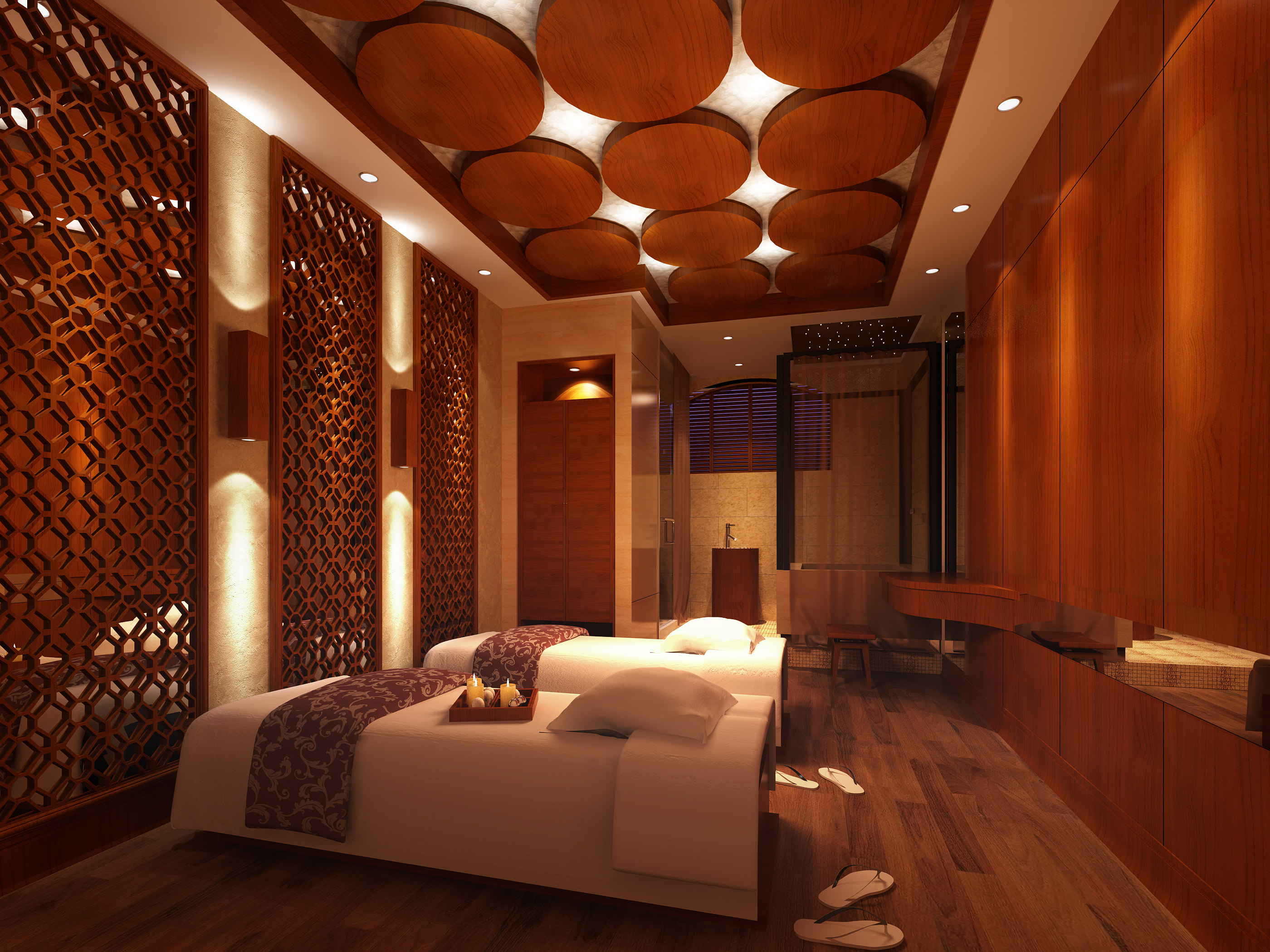 3D SPA Room with Wooden Decor Partitions | CGTrader