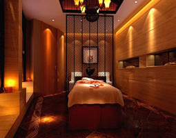 SPA Room with Exquisite Partition Frame 3D model