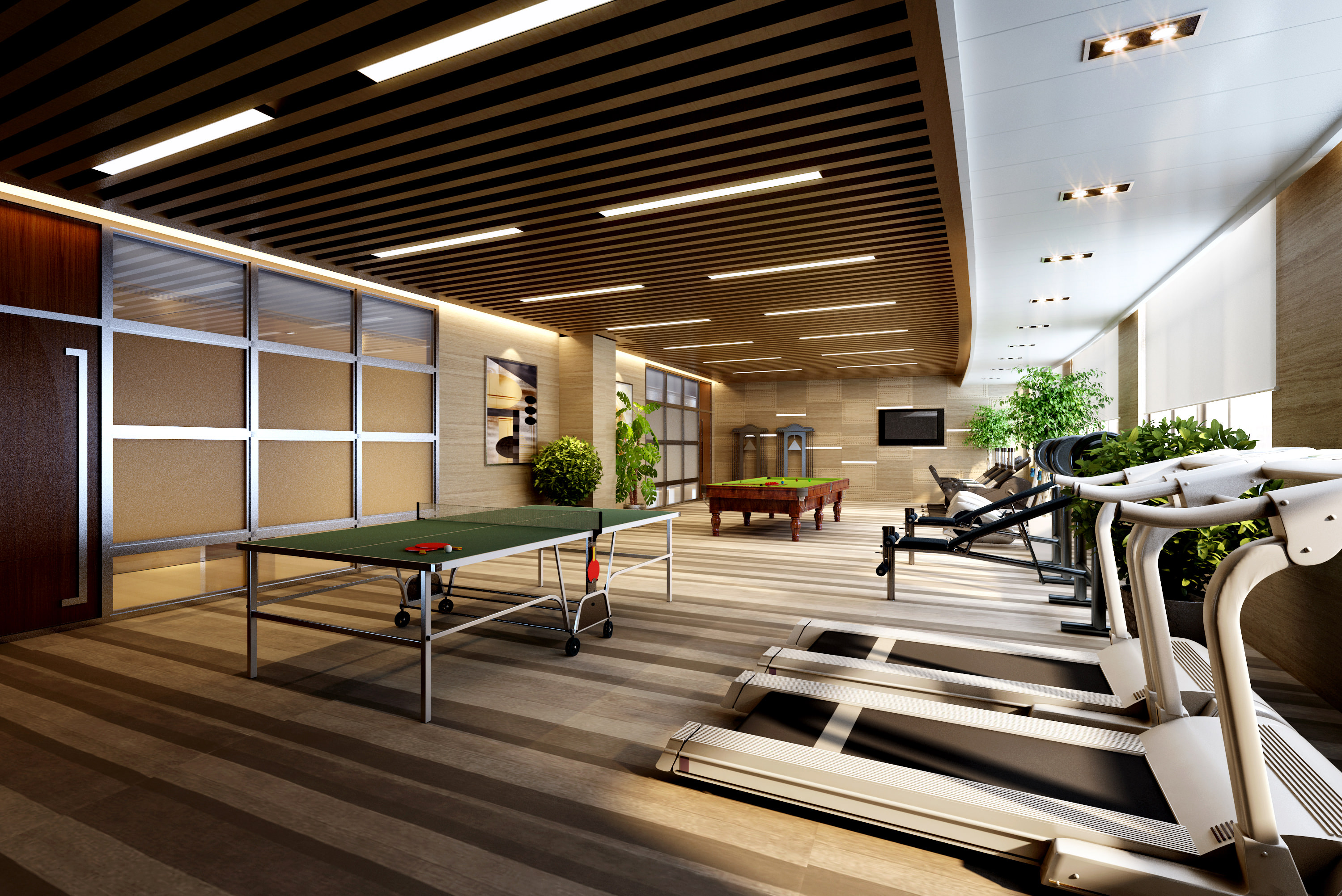 Gym with treadmills and table tennis tables 3d model max for Free gym layout design