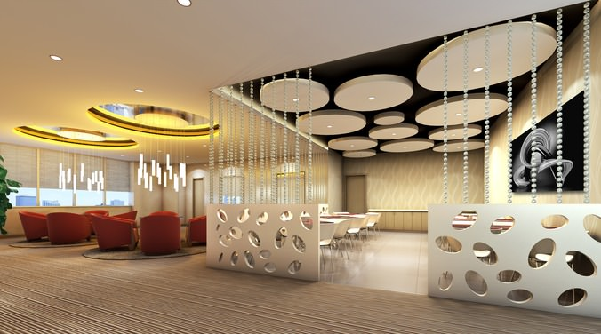 Lobby With Stylish Partition Decor 3d Model Cgtrader