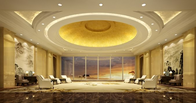 3d antechamber with round false ceiling cgtrader for False ceiling design for lobby