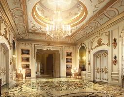 lobby with luxury decor 3d