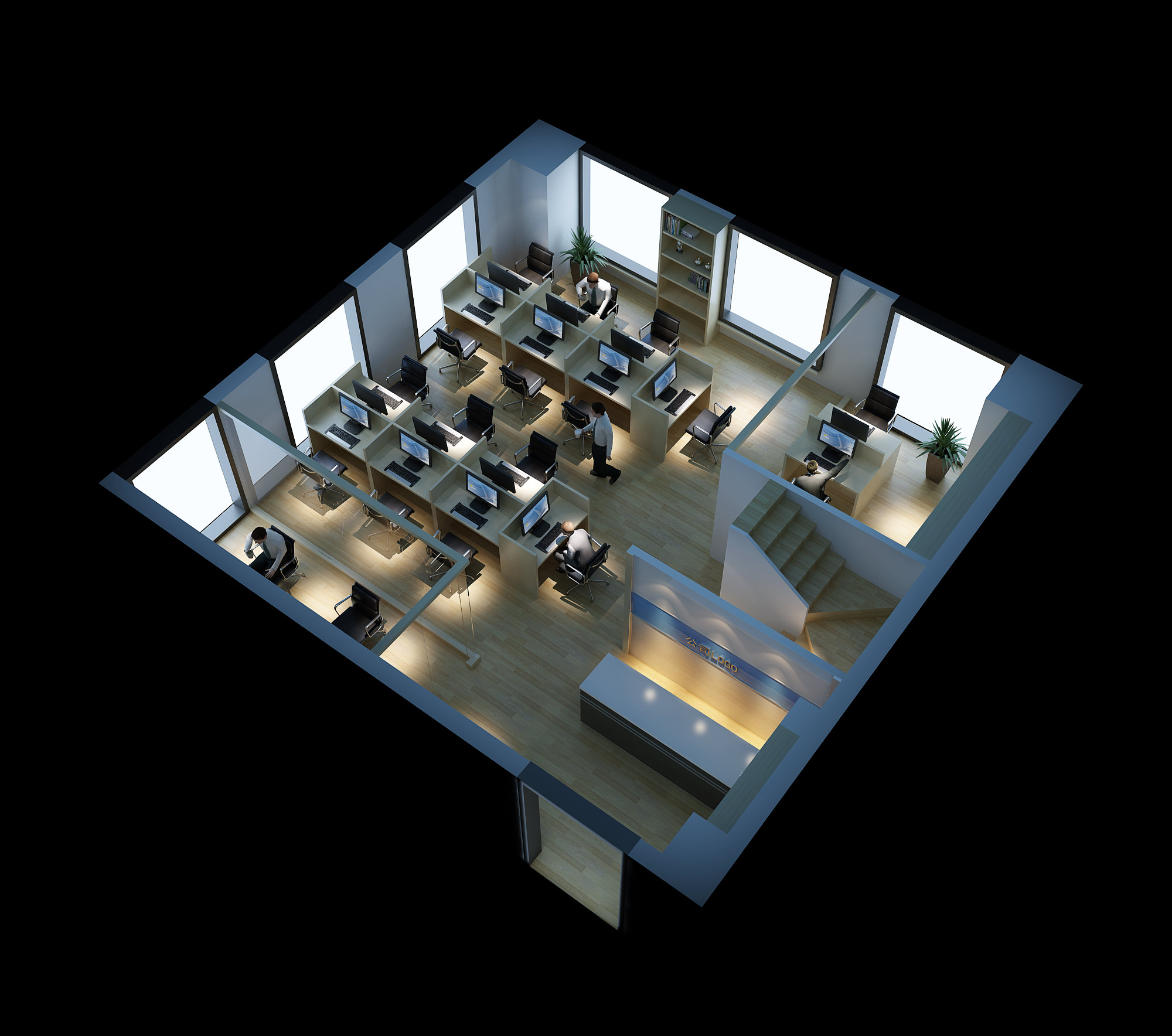 spacious elite office space 3d model max 1 - Office Models Photos