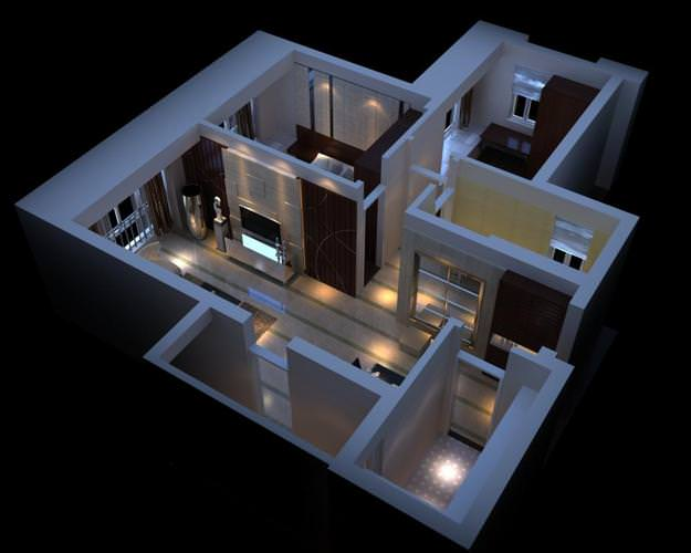 3d high end condo interior cgtrader for Apartment design models
