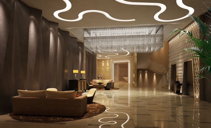 3d model lobby with high end ceiling decoration cgtrader for Hotel decor items