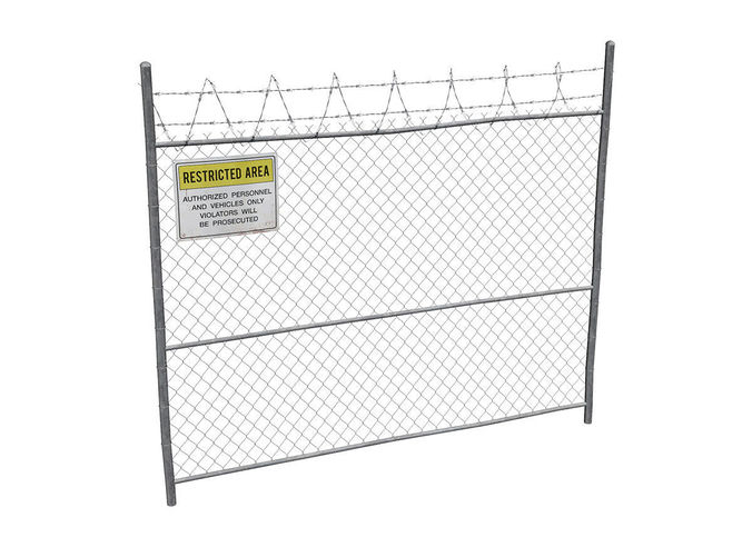 damaged metal fence with sign 3d model low-poly max obj mtl fbx 1